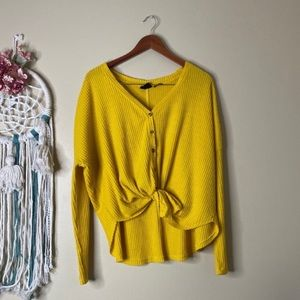 Urban Outfitters Waffle Knit Top Yellow Size M